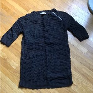 Open knit short sleeved sweater